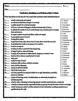 Vocabulary Workshop Level B Review Unit 1-3