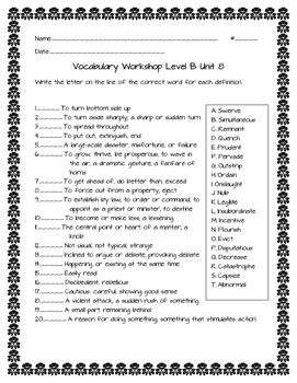 Vocabulary Workshop Level B Unit 8