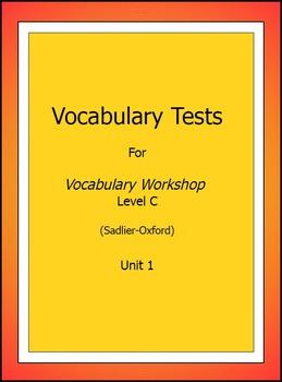 Vocabulary Workshop, Level C, Test & Key, Unit 1 Only, Sad