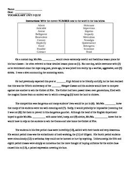 Vocabulary Workshop Shostak Level E Unit 2 Vocabulary Quiz