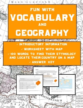 Vocabulary and Geography: Etymology Word Map (5 Pages, Ans