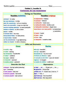 Vocabulary and Grammar with preterite reference (Avacemos 2 U1L2)