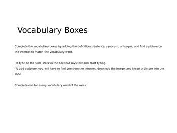 Vocabulary boxes Wonders Unit 1.1 Grade 4
