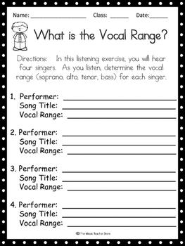 Vocal Range Listening Activity