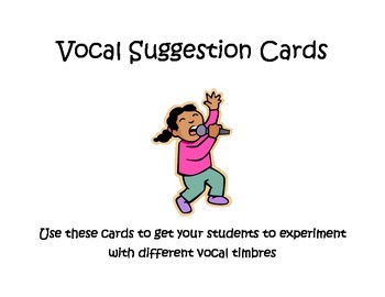 Vocal Timbre Cards - suggestion cards for different vocal timbres
