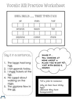 Vocalic AIR Homework Worksheet