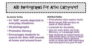 Vocalic R Articulation Photographs for Speech Therapy: AIR