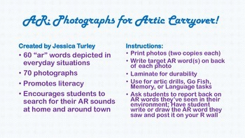 Vocalic R Articulation Photographs for Speech Therapy: AR