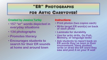 Vocalic R Articulation Photographs for Speech Therapy: ER