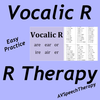Easy Practice Pack - Vocalic R