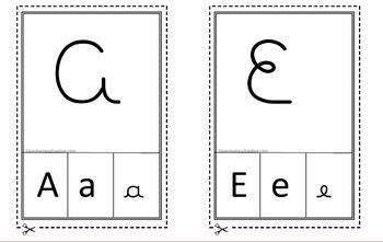 Vogais em letra cursiva AEIOU Cards