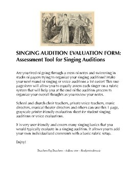 Singing Audition Evaluation: Great for Auditions & Assessm