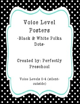 Voice Level Posters (Black and White Polka Dots)