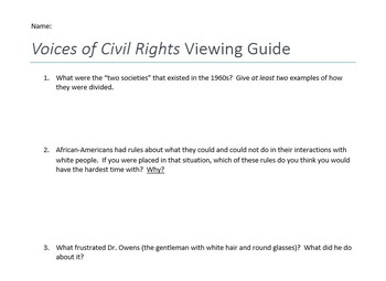Voices of Civil Rights Video Viewing Guide (Episode 2)