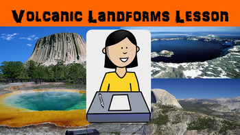 Volcanic Landforms Lesson with Worksheet, Power Point, and