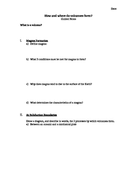 Volcanoes Guided Notes