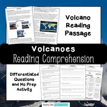 Volcanoes Reading Comprehension with Differentiated Questions