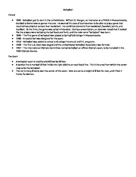 Volleyball Notes and Quiz