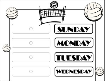 Volleyball Weekday Chart! Volleyball Bulletin Board! Volle