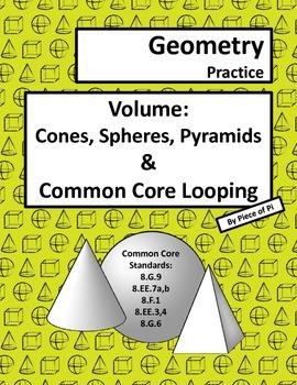 Volume Cone Sphere 8.G.9 Pyramid Common Core Spiraling Pra