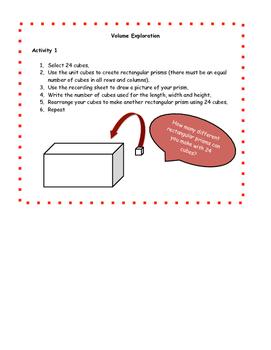 Volume Exploration or Math Center Activity