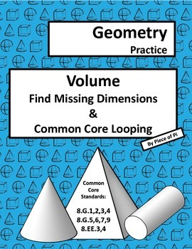 Volume Find Missing Dimensions 8.G.9 Common Core Spiraling
