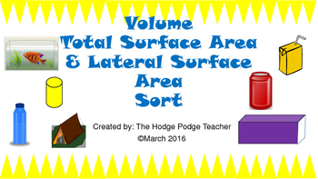 Volume & Surface Area Sort