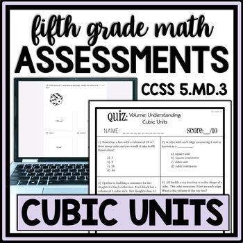 Volume: Understanding Cubic Units Quiz, 5.MD.3 Assessment,