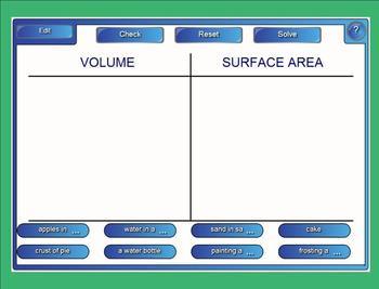 Volume Versus Surface Area Sort - Interactive Smartboard