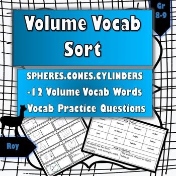 Volume Vocabulary Sort + Vocab Practice