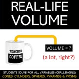 Real-Life Volume Worksheet: Cones, Cylinders, Pyramids, Pr