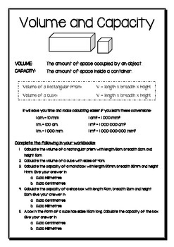 Volume and Capacity