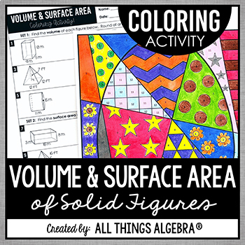Volume and Surface Area Coloring Activity (Prisms, Pyramid