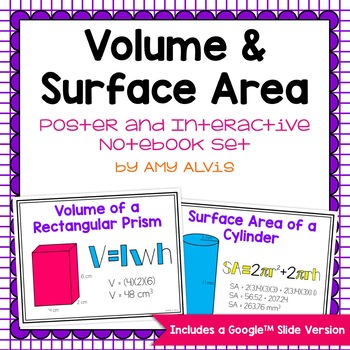 Volume and Surface Area Posters and Interactive Notebook Set