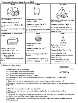 Volume and Surface Area Spring 2013 with Answer Key
