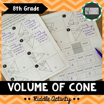 Volume of Cone Riddle Activity 8.G.C9