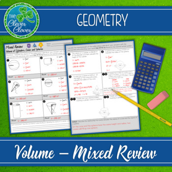 Volume of Cylinders, Cones and Spheres - Mixed Review Worksheet