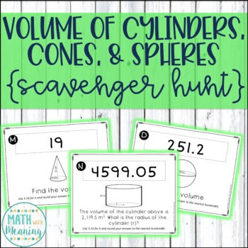 Volume of Cylinders, Cones, and Spheres Scavenger Hunt Act