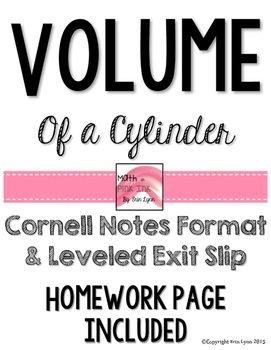Volume of Cylinders Notes/Homework 8.G.C.9 Go Math