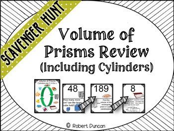 Volume of Prisms Review Scavenger Hunt (including cylinders)