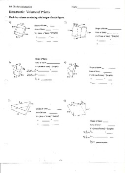 Volume of Prisms and Finding Missing Side Lengths