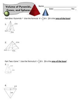 Volume of Pyramids, Cones, and Spheres