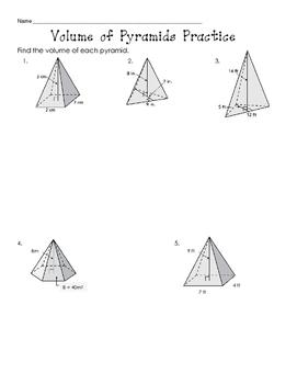 Volume of Pyramids Practice
