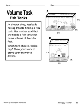 Volume of Rectangular Prisms Task Worksheet