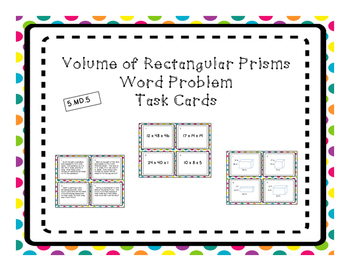 Volume of Rectangular Prism Differentiated Word Problem Ta