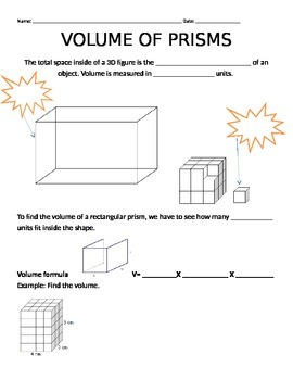 Volume of Rectangular Prisms Guided Notes