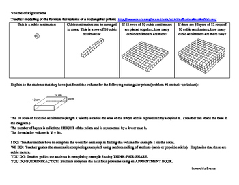 Volume of Right Prisms Lesson