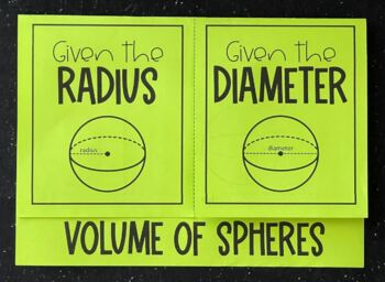 Volume of Spheres (Foldable)