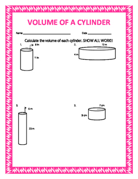 Volume of a Cylinder w/ Answer Keys
