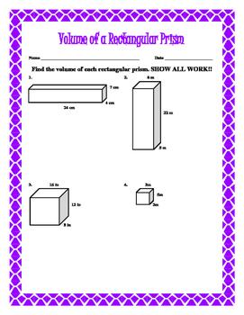 Volume of a Rectangular Prism w/ Answer Keys